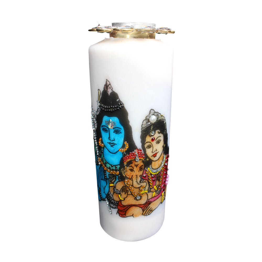 Shiv Parvati with Ganesh: Hand Painted Candles with Tea Light Holder