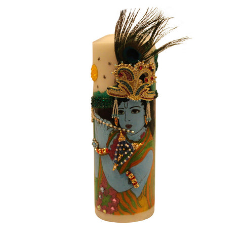 Mor Mukut Dhari Krishna: Handpainted Candles