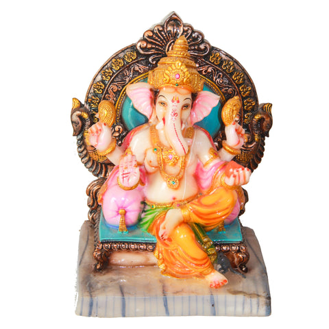 Lord Ganesh sitting on an Aasan