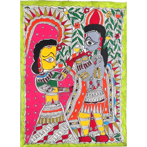Madhubani Painting- Radha Krishna - (painted with natural colours and dies)