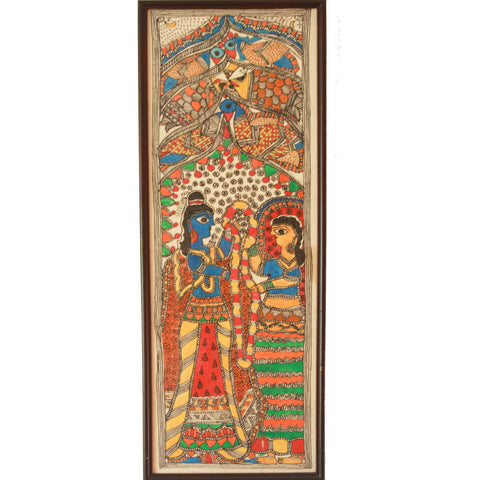 Madhubani Painting- Shiv Parvati Vivah - (painted with natural colours and dies)