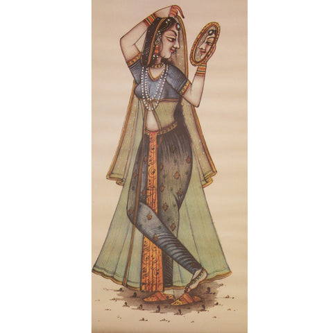 Painting:Miniature- From the series of Ragmaala Paintings-Depicting Ragini with mirror