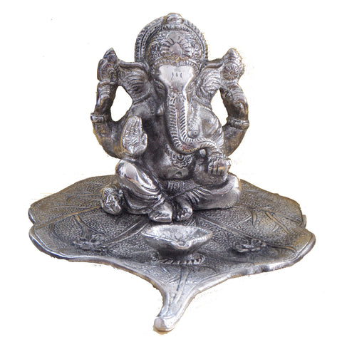 Lambodhar Ganesh:Ganesh Statue on leaf with oil lamp - Made from white metal