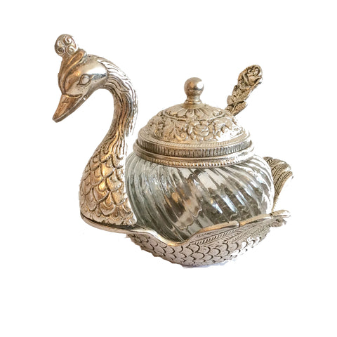 Sugar bowl with lid and spoon  - shaped like a swan