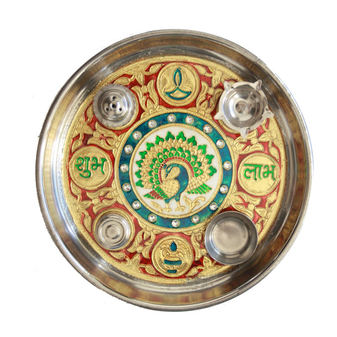 Puja Thali/Plate decorated with meenakari work