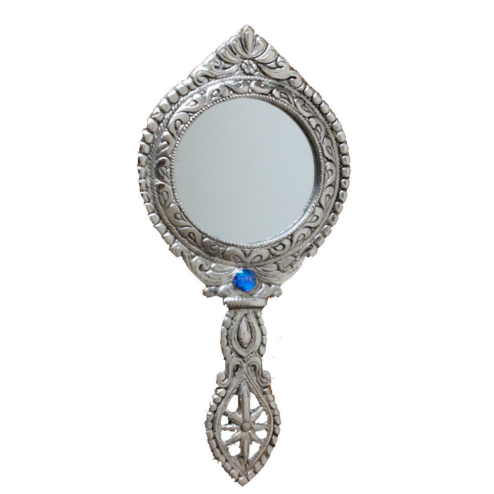 Beautiful  Two sided Hand Mirror made from White Metal