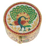 Beautiful round storage/Jewellery box, decorated with Meenakari Artwork