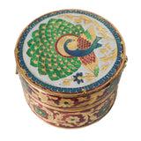 Beautiful round storage box, decorated with Minakari Artwork with blue coloured rim