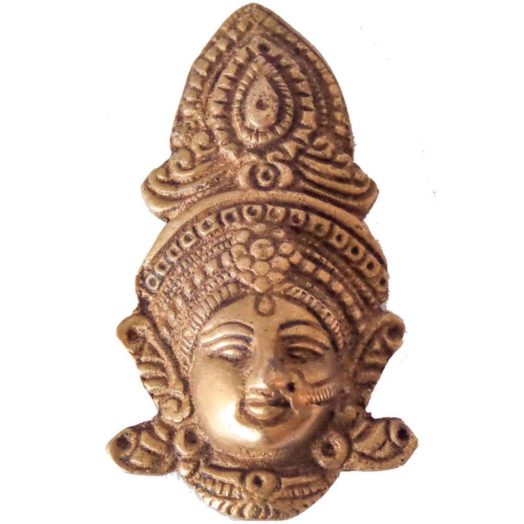 Face of Goddess Durga carved in metal :Wall Décor