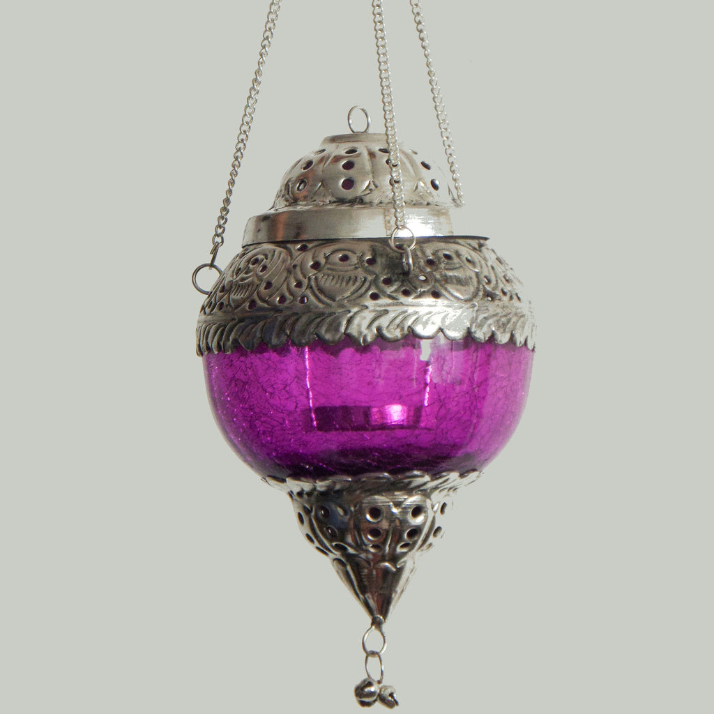 Tea Light Candle Holders - With Lantern made from Crackle Glass - Purple Colour