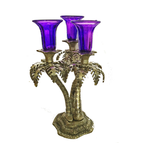 Candle Stand Shaped like Palm Tree with Three Violet Glass Holders