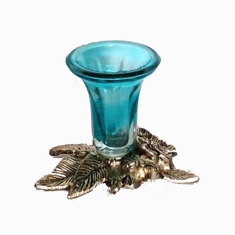 Candle Stand with a Blue Glass Holder