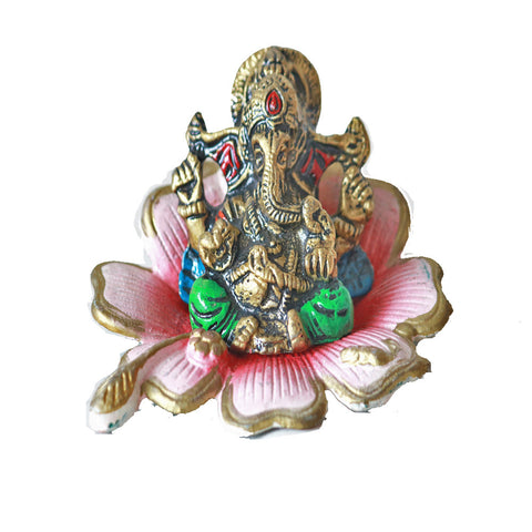 Omkara Ganesh Idol on a Hibiscus Flower