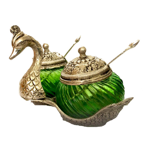 Swan Shaped Sugar and Spice Bowl with carvings, made from glass and metal