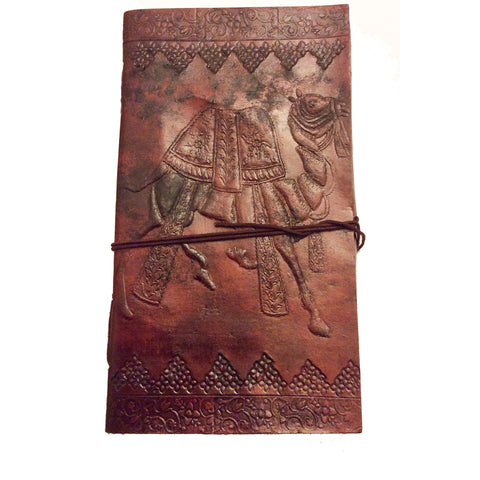 Note Book with Leather Bound Cover:  Camel Motif
