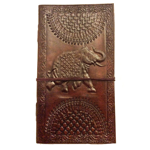 Note Book with Leather Bound Cover:  Elephant Motif