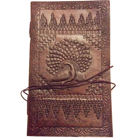 Note Book with Leather Bound Cover: Peacock Motif