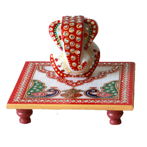 Ganesh Idol on a Pedestal (Puja Chauki): Made fromMarble