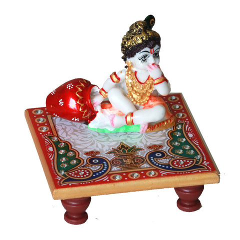 Idol of Krishna (Bal Gopal) eating Makhan (white butter): Made from Marble