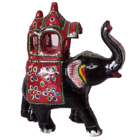 Elephant Figurine Made from Pulp and hand-painted with enamel