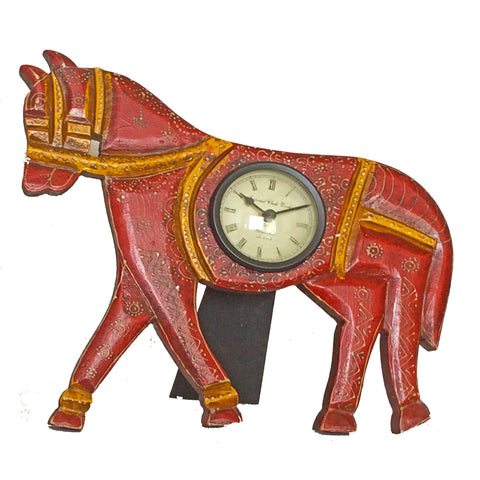 Wooden, Horse-Shaped,hand-painted, Table Clock