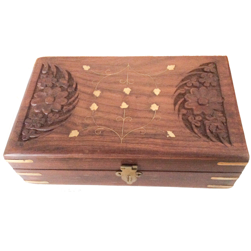 Hand-Carved Wooden  Storage box with brass inlay work