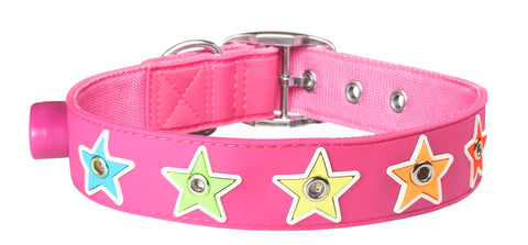 Flashing Pink Star Collar from