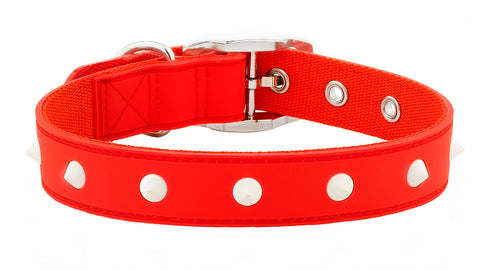 Spike Red Glow Dog Collar From