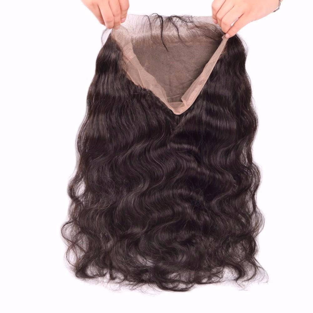 Puddinghair 8A Grade Virgin Human Hair Body Wave 2 Bundles With 360 Lace Frontal Pre Plucked With Baby Hair