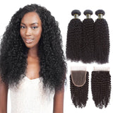 Puddinghair 8A Peruvian 3 Bundles Virgin Kinky Curly Hair with 4x4 Lace Closure
