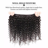 Puddinghair 8A Kinky Curly 3 Bundles Brazilian Human Hair With Lace Frontal Closure