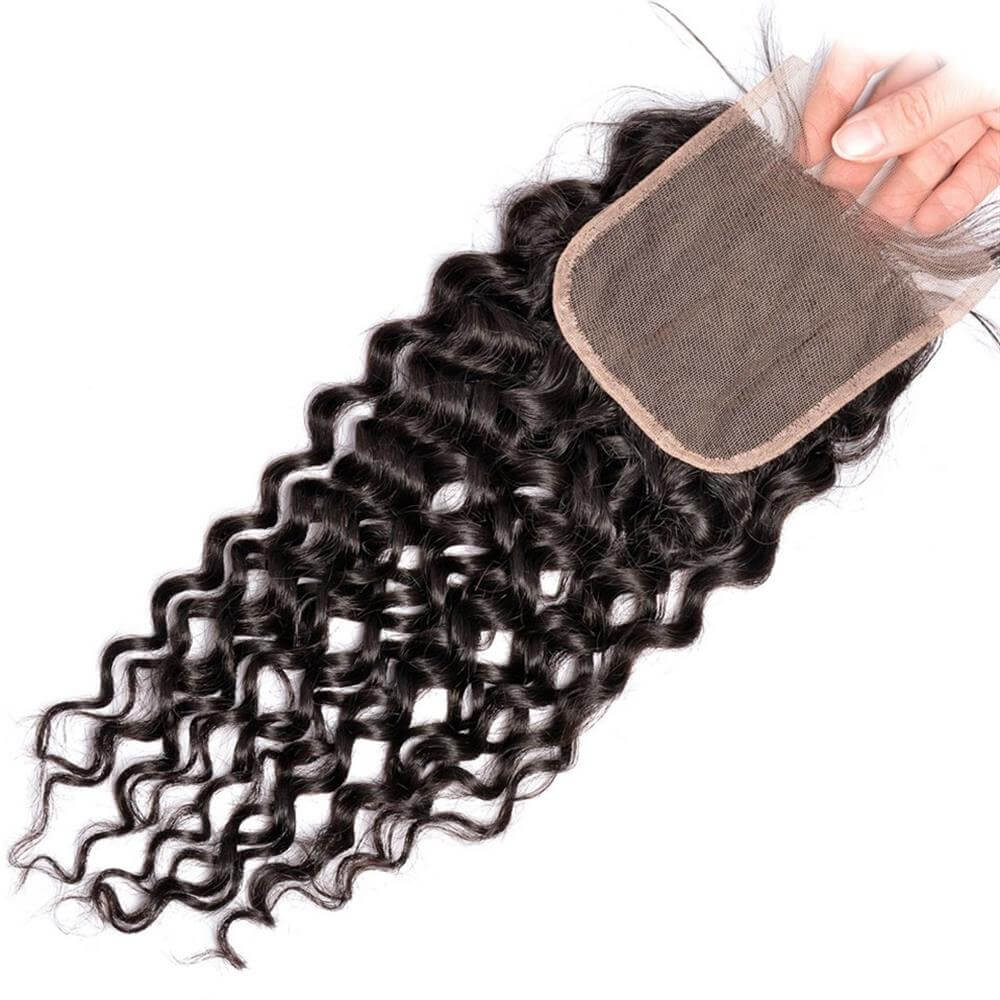 Puddinghair 8A Brazilian Unprocessed 4x4 Water Wave Closure 100% Virgin Human Hair