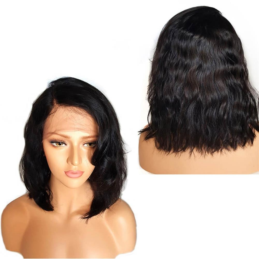 Puddinghair Short Body Wave Lace Frontal Bob Wig 100% Human Hair Without Bangs Natural Black