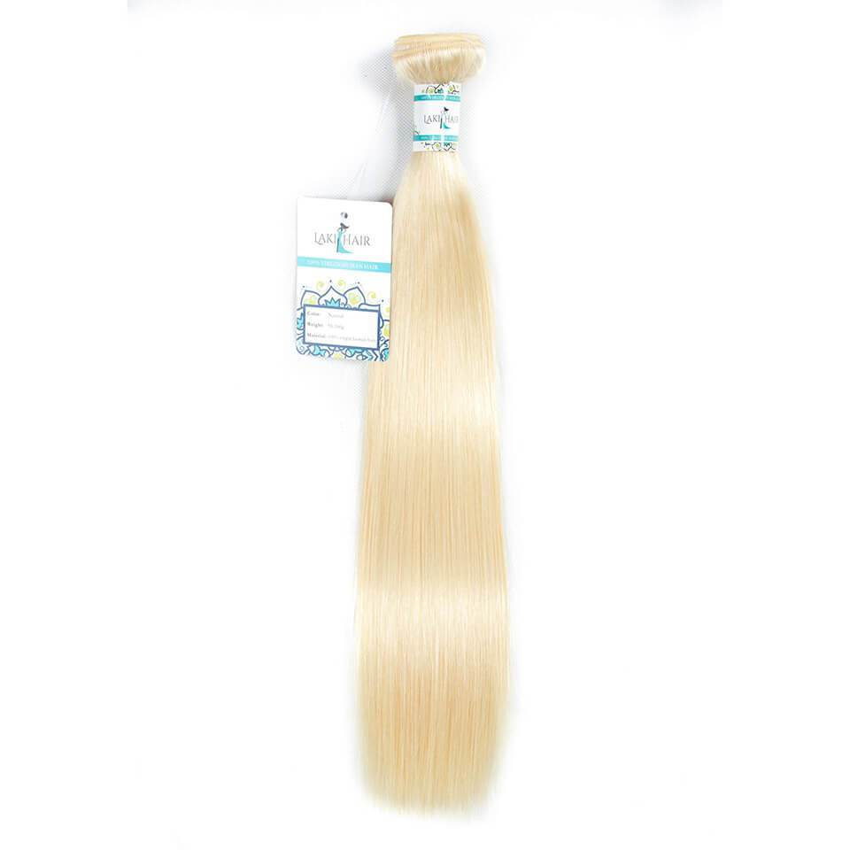 Lakihair 10A  613 Blonde 1 Bundles Brazilian Human Straight Hair Extensions