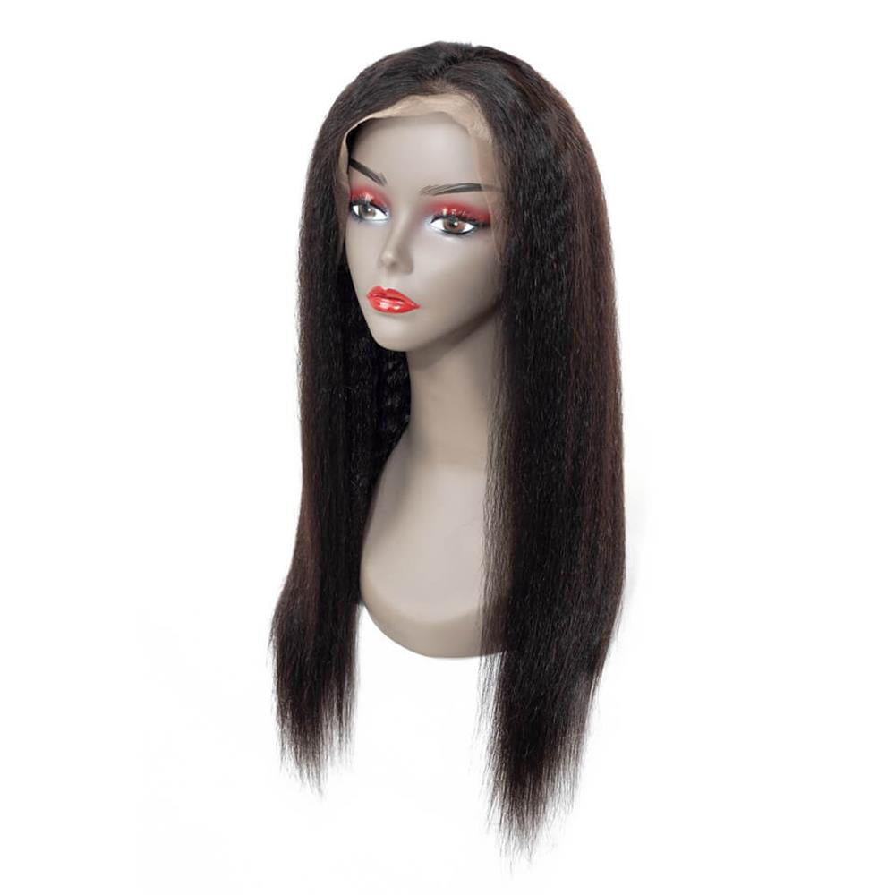 Puddinghair Brazilian 100% Human Hair Wig Long Kinky Straight Black Lace Front Wig