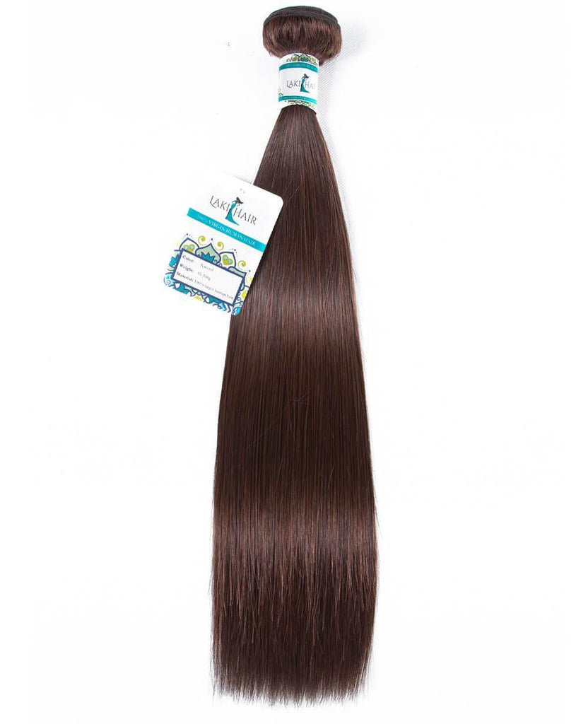 Lakihair 10A Brazilian Straight Hair Color 4 Virgin Human Hair Weave 1 Bundle Colored Hair