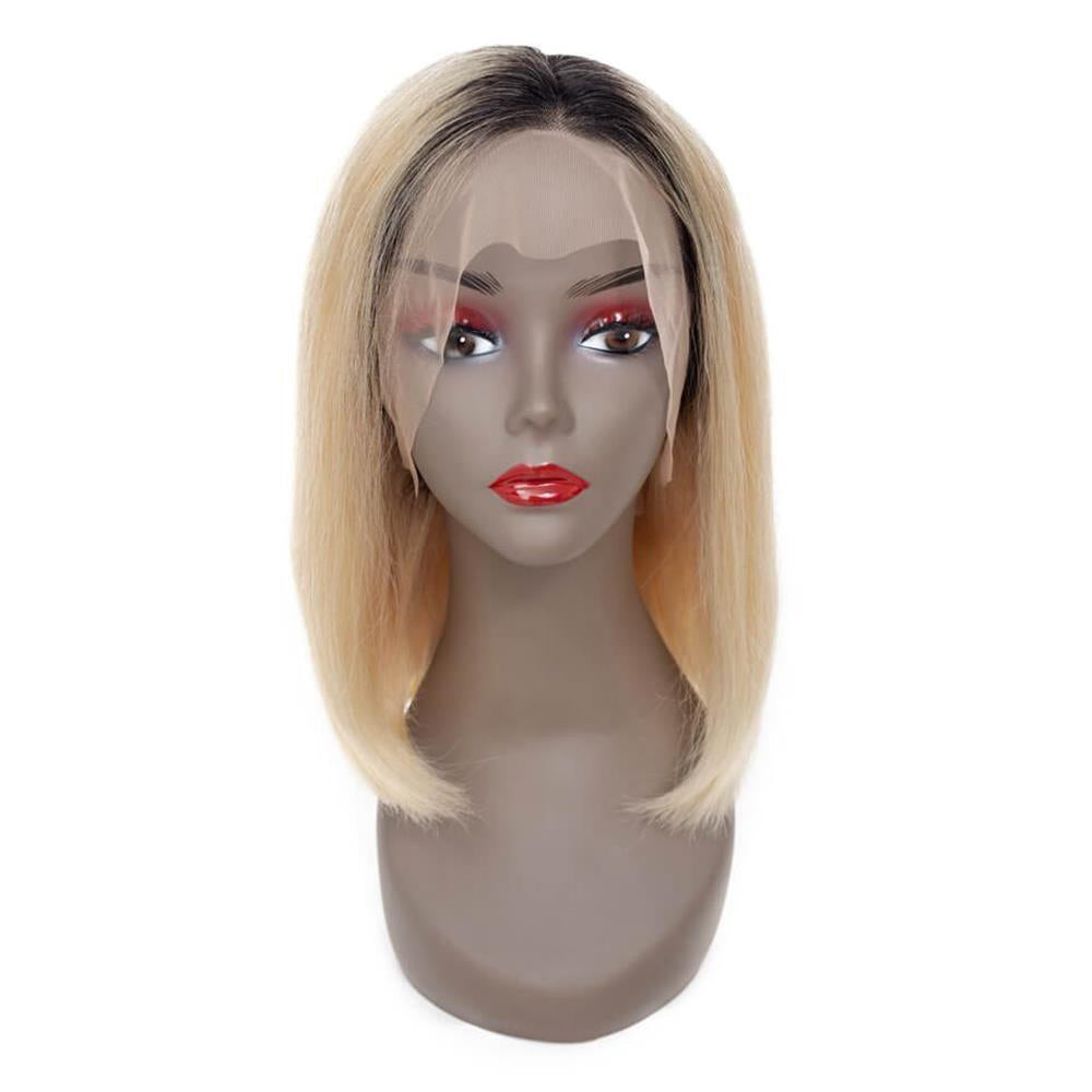 Puddinghair Ombre Blonde 1B/613 Colored Wig Lace Frontal Straight Hair Bob Wig