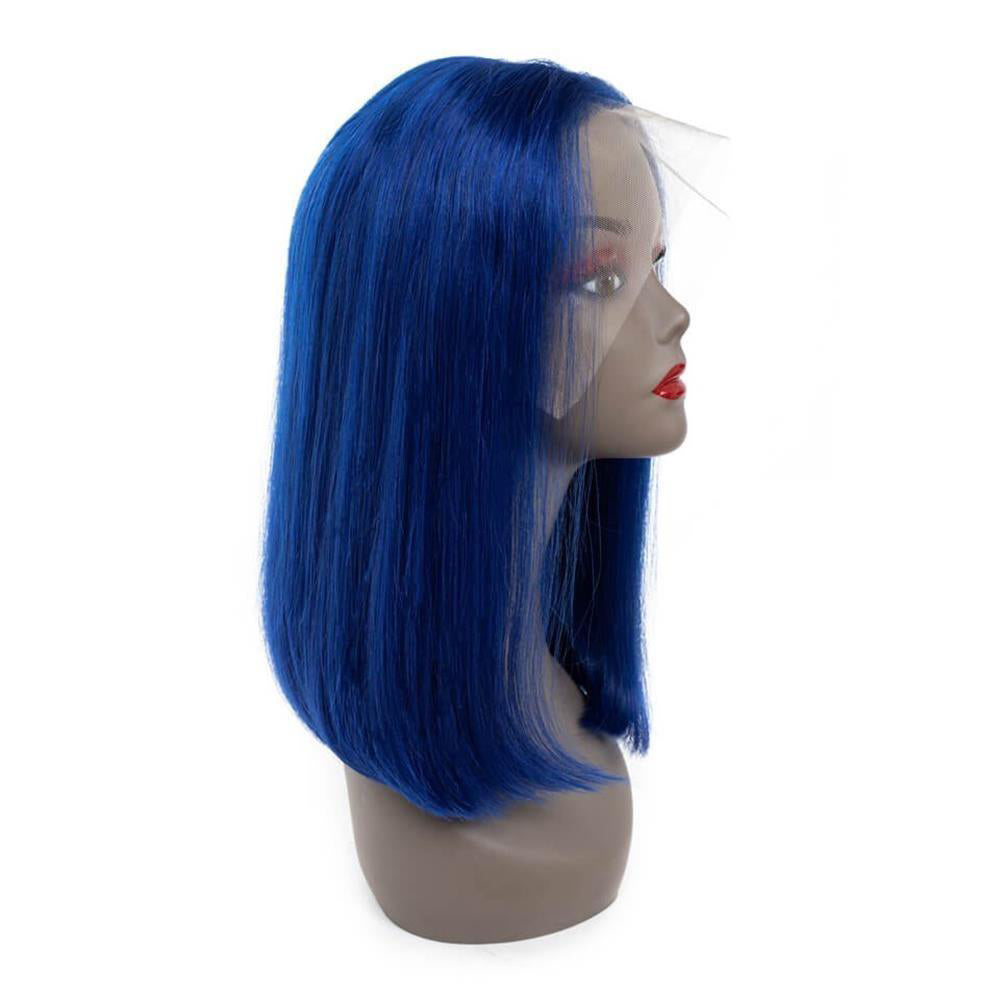 Puddinghair Blonde Color Wig Lace Frontal Straight Hair Bob Blue Wig For Women