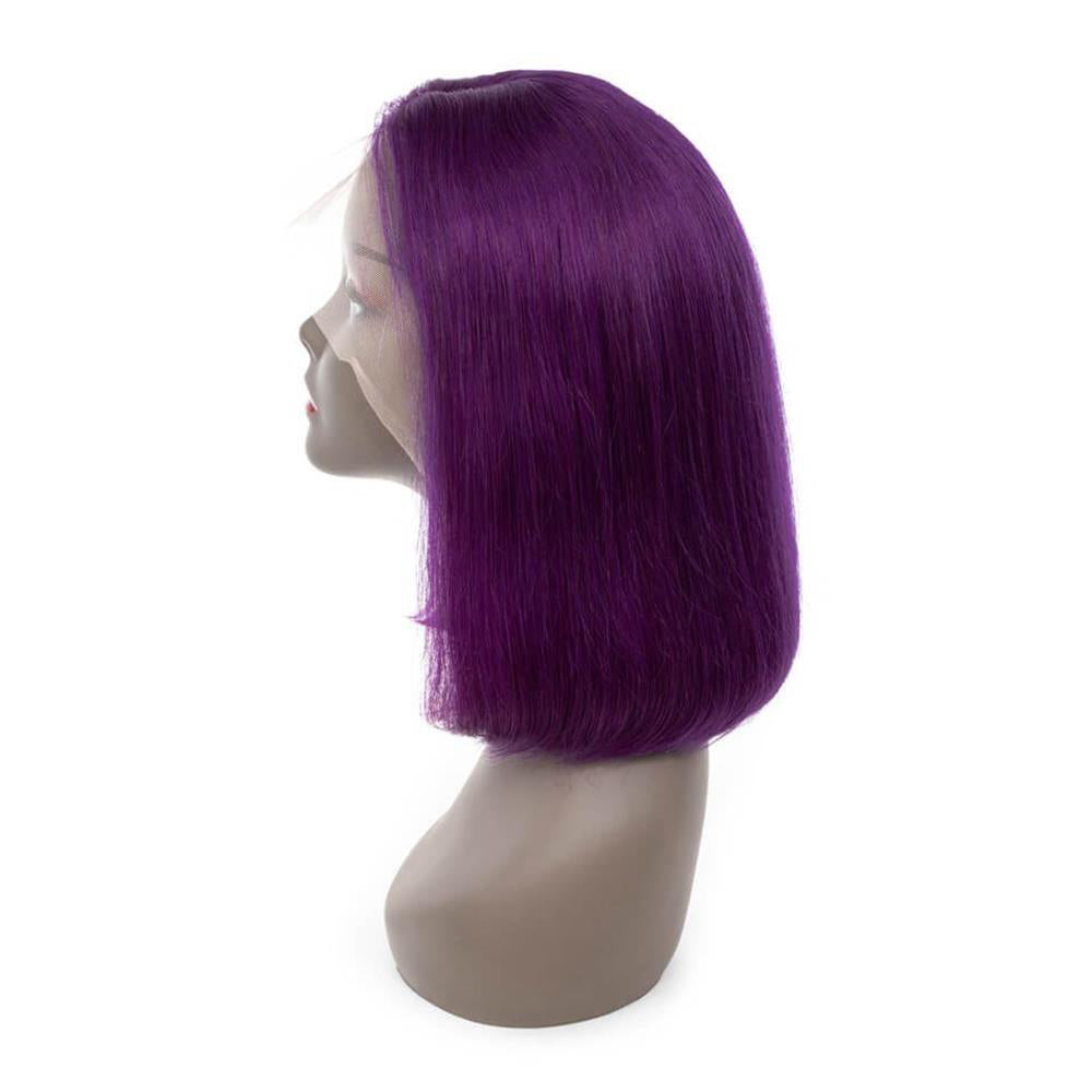 Puddinghair Blonde Color Wig Lace Frontal Straight Hair Bob Purple Wig For Women