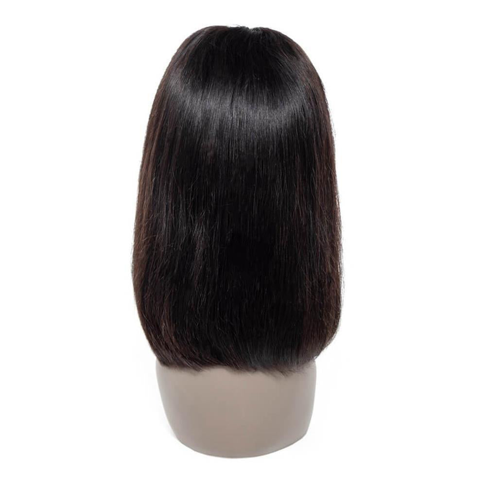 Puddinghair Short Straight Lace Frontal Bob Wig 100% Human Hair Without Bangs Natural Black