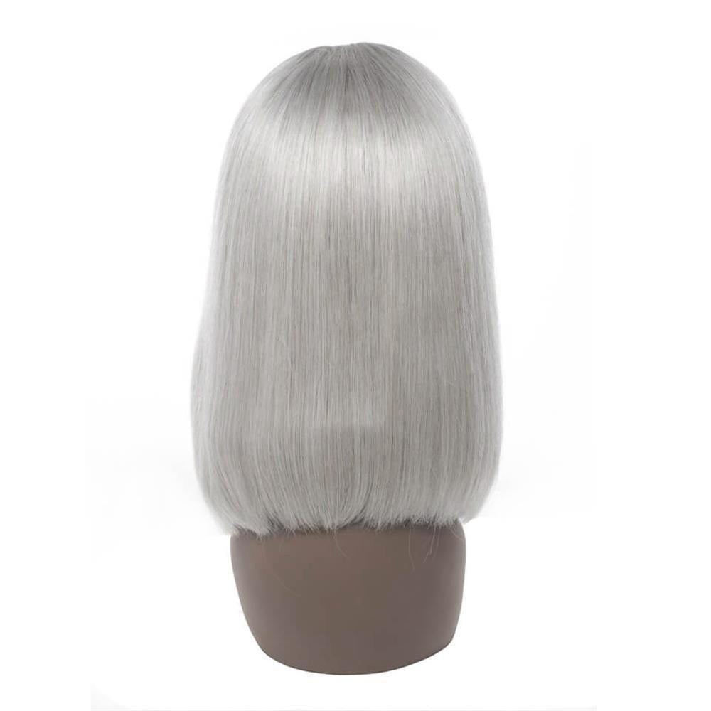 Puddinghair Blonde Color Wig Lace Frontal Straight Hair Bob Grey Wig For Women