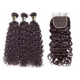 Puddinghair 8A Water Wave Brazilian 3 Bundles With 4x4 Lace Closure