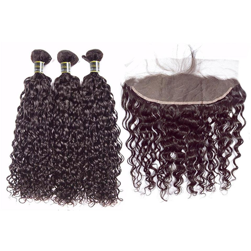 Puddinghair 8A Brazilian Water Wave 3 Bundles Human Hair With 13x4 Lace Frontal Closure