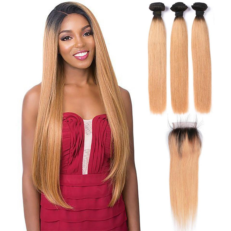 Puddinghair 8A Straight Hair 3 Bundles deals with 4x4 Lace Closure Brazilian 1B/27 Hair