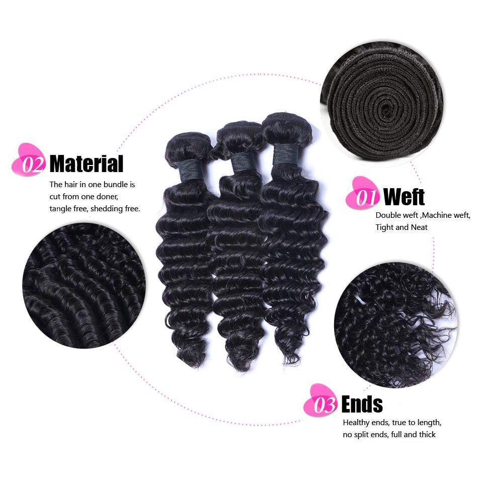 Puddinghair 8A Deep Wave Virgin Hair Peruvian/Brazilian Human Hair 4 Bundles