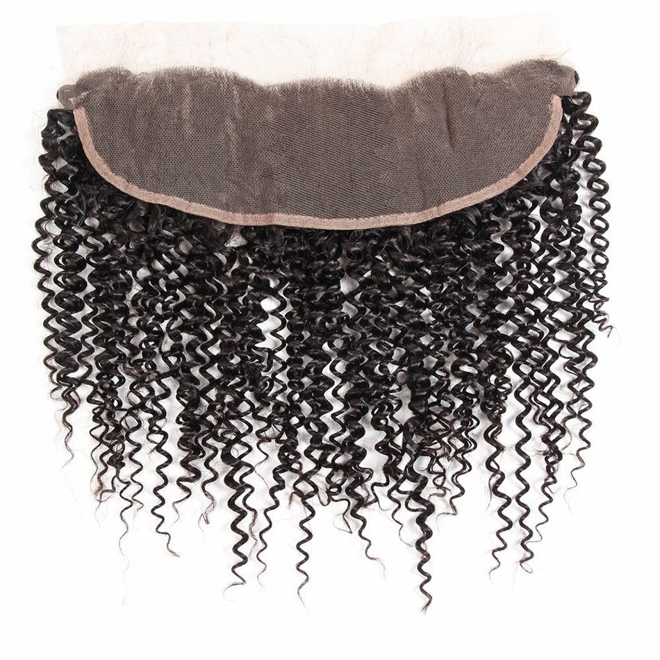 Puddinghair 8A Brazilian Curly Hair Lace Frontal Hair Closure Jerry Curly