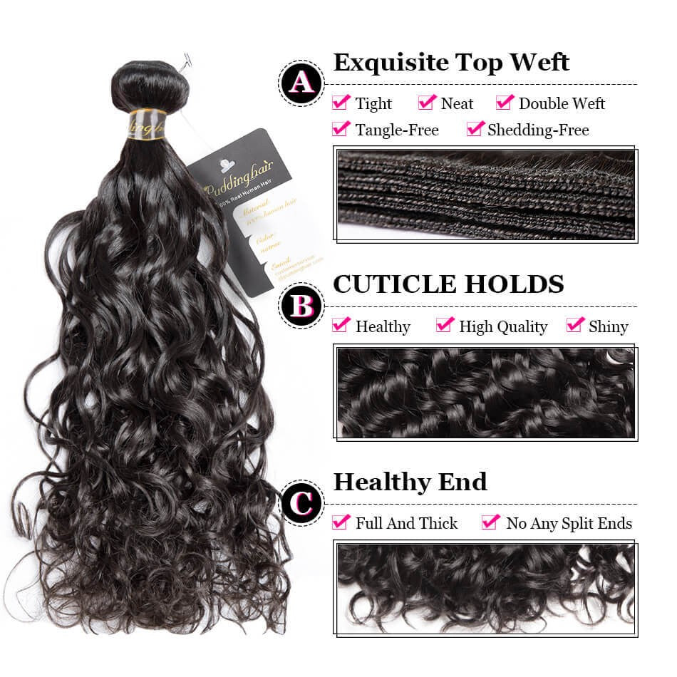 Puddinghair 8A Brazilian/Peruvian 1 Bundle Virgin Human Hair Natural Wave