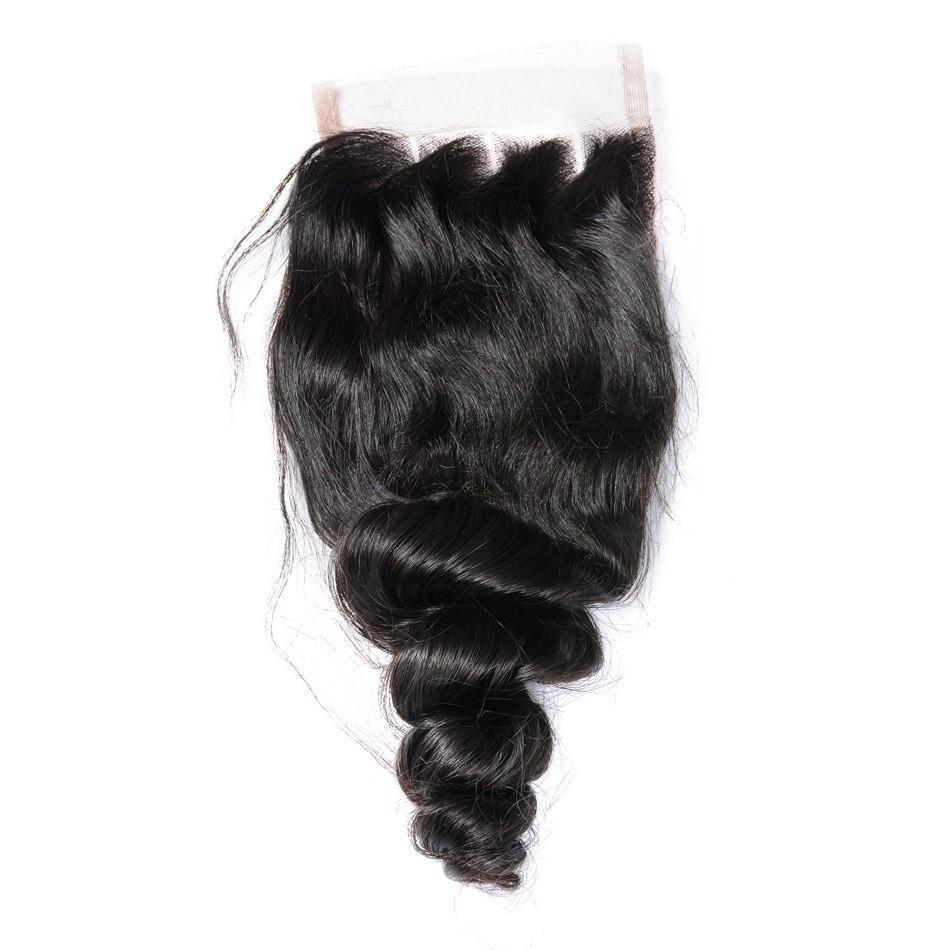 Puddinghair 8A Brazilian 100% Unprocessed Virgin Human Hair 4x4 Loose Wave Closure