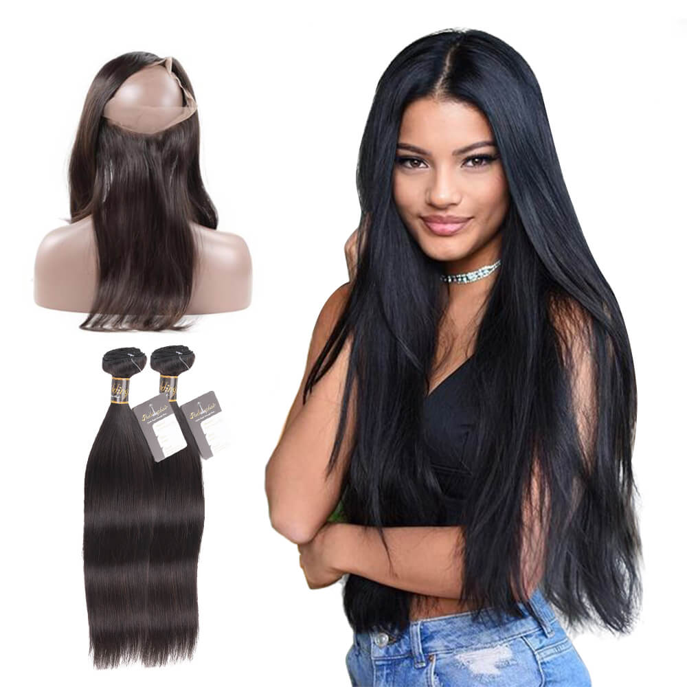 Puddinghair 8A Grade Virgin Human Straight Hair 2 Bundles With 360 Lace Frontal Pre Plucked Natural Hairline