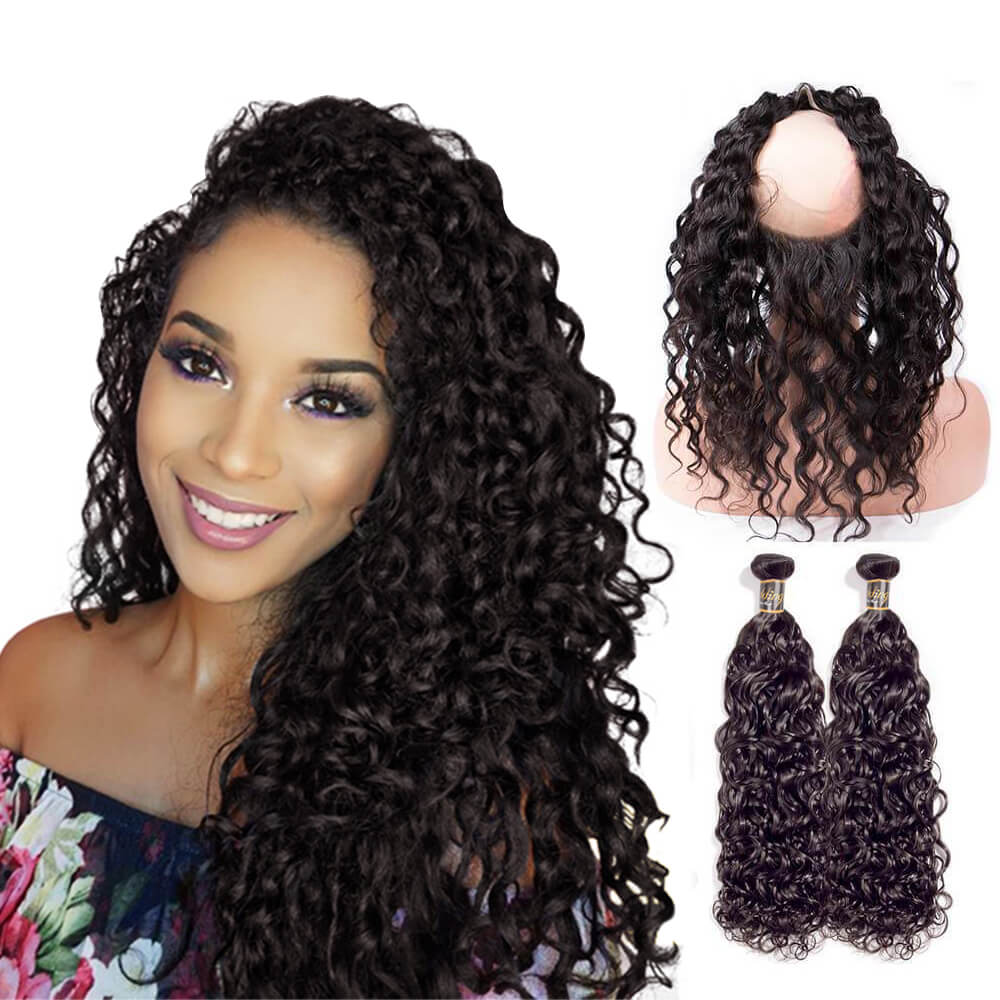 Puddinghair 8A Grade Virgin Human Hair Water Wave Hair Extensions 2 Bundles With 360 Lace Frontal